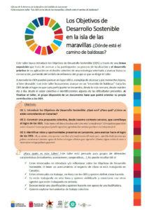 Los Objetivos de Desarrollo Sostenible en la isla de las maravillas ¿Dónde está el camino de baldosas?
